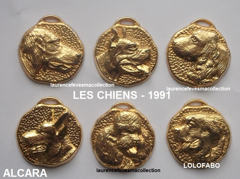 1991 an560 x les chiens pendentifs metal dore 96p15 alcara